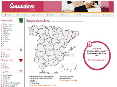 Mapa interactivo tiendas sensualove.com
