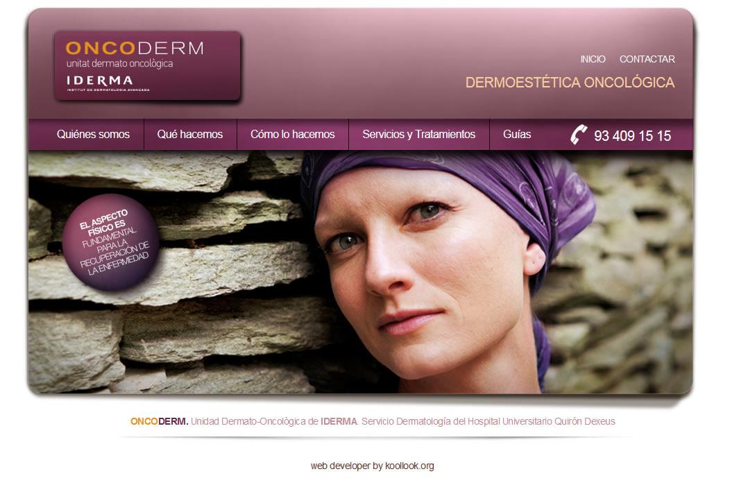 Web de la Unidad de Atención Dermatológica al Paciente Oncológico del Instituto de Dermatología Avanzada IDERMA, sServicio de Dermatología del Hospital Universitario Quirón-Dexeus