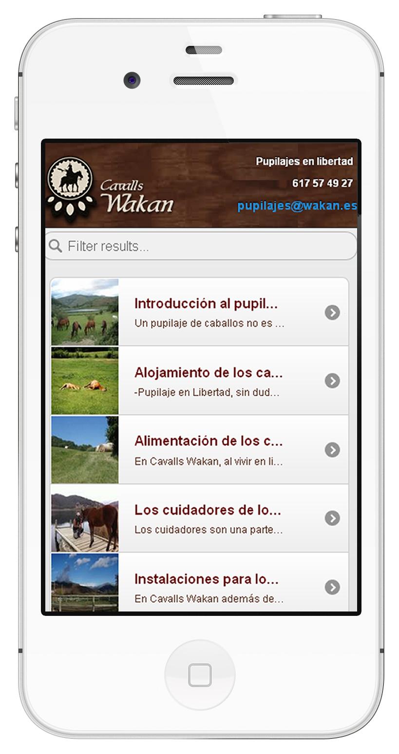 Versió mobil de la web pupil·latges de cavalls